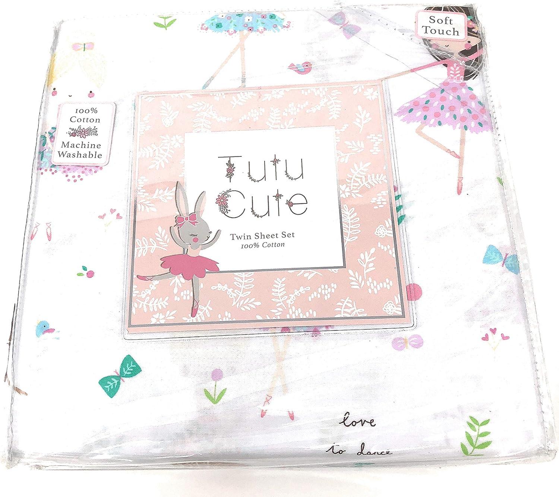 Tutu cute Dancing Girls Ballerina and Butterflies TWIN Sheet Set   100% Cotton