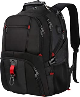 MANCRO Laptop Backpack,Large Business Water Resistant Travel Rucksack with USB Charging Port Fit Most 17.3 Laptop and Notebook,Black