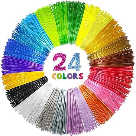 24 Colors 3D Pen PLA Filament Refills, 1.75mm Premium Filament for 3D Printer/3D Pen, Each Color 10 Feet, Total 240 feet, with 2 Finger Caps by SONGTIY