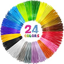 شارژر رشته ای 24 رنگ سه بعدی PLA ، رشته پرمیوم 1.75 میلی متری برای چاپگر سه بعدی / قلم سه بعدی ، هر رنگ 10 پا ، مجموع 240 فوت ، با 2 کلاهک انگشت توسط SONGTIY
