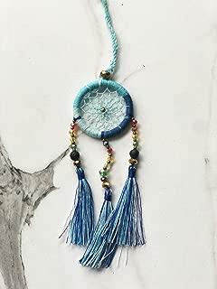 Gem Beads Dream Catcher Handmade Key Ring Key Chain Charm for Bag Hanging Ornament 1.6 Inch (Blue)