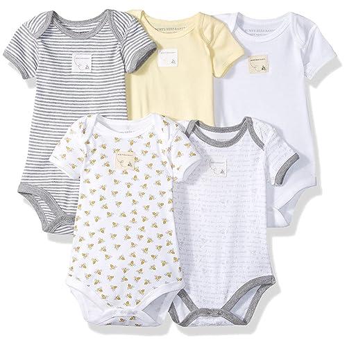 5744cbe1b Burt's Bees Baby - Unisex Baby Bodysuits, 5-Pack Long & Short-Sleeve