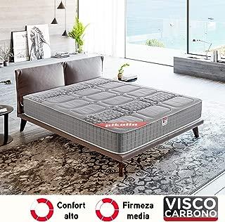 PIKOLIN, Colchón viscoelástico carbono de gama alta, 90x190, máxima calidad y confort, firmeza media, Altura 26 cm. Modelo Troya