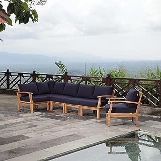 Modway EEI-1816-NAT-NAV-SET Marina Premium Grade A Teak Wood Outdoor Patio Furniture Set, 6 Piece, Natural Navy