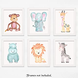 Baby Lion, Elephant, Giraffe, Monkey, Hippo, Zebra Poster Prints, Set of 6 (11x14) Unframed Photos, Wall Art Decor Under 30 for Home, Nursery, Babies, Student, Teacher, Earth & Safari Animals Fan