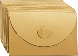 Gift Envelopes - 24 Pack Colorful Craft Photo Envelopes with Heart Clasps - Includes White Postcard Inside, Paper, Golden, 6.8 x 4.3 Inches