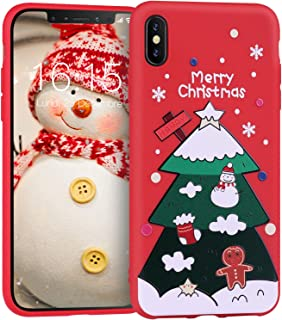 JASBON Custom Red Phone Case for Apple iPhone Xs MAX with Christmas Tree Pattern Slim TPU Soft Rubber Silicone Protective Cover