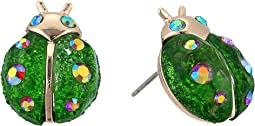 Green Ladybug Stud Earrings