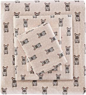 True North by Sleep Philosophy Cozy Flannel 100% Cotton Ultra Soft Cold Weather Sheet Set Bedding, Twin XL, Pink French Bulldog 3 Piece