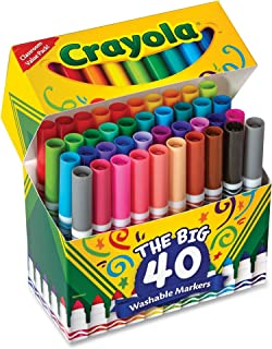 Crayola Washable Markers, Broad Point, Assorted Classic Colors, 40/Set