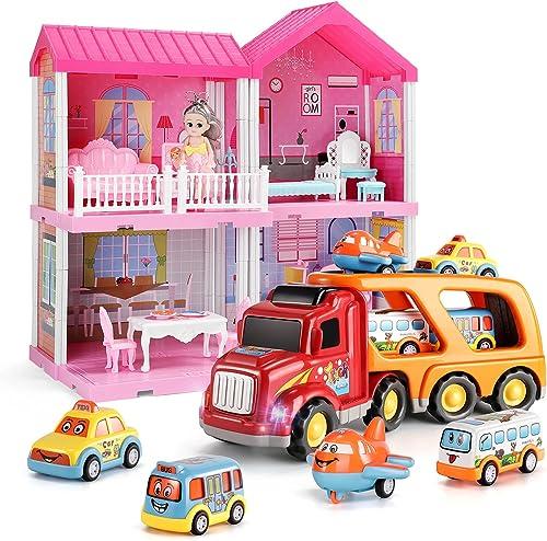 popular TEMI Carrier Truck Transport Car Play discount Vehicles sale Toys, Dollhouse Dreamhouse Building Toys Figure w/ Furniture online