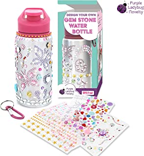 Decorate & Personalize Your Own Water Bottles for Girls with Tons of Rhinestone Glitter Gem Stickers! BPA Free 20 oz Kids Water Bottle! Cute Gift for Girl, Fun DIY Art and Craft for Children