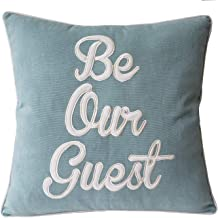 DecorHouzz Be Our Guest Appliqued Pillowcases Embroidered Pillow Cover CushionThrow Pillow Decorative Pillow Wedding Birthday Anniversary Gift 18