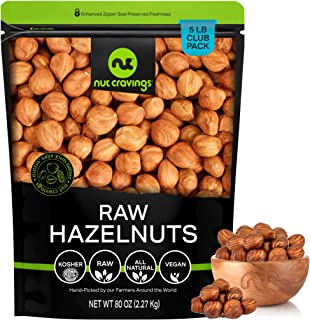 Raw Hazelnuts Filberts with Skin, No Shell (80oz - 5 Pound) Packed Fresh in Resealable Bag - Nut Trail Mix Snack - Healthy...