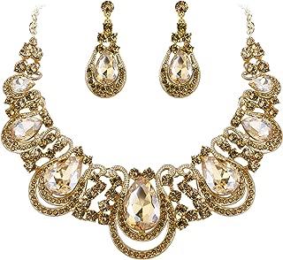 BriLove Women's Costume Fashion Crystal Teardrop Hollow Scroll Statement Necklace Dangle Earrings Set