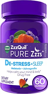 ZzzQuil PURE Zzzs De-Stress & Sleep Melatonin Sleep Aid Gummies with Ashwagandha, Chamomile, Lavender, & Valerian Root, 1mg per gummy, 60 ct