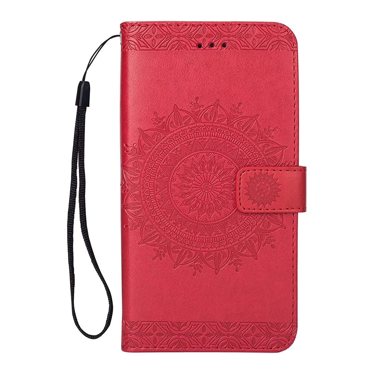 AIIYG DS,iPhone 8 Plus Case,iPhone 7 Plus Wallet Cases,Caseowl Embossed Mandala Pattern Flower Floral Pu Leather Flip Wallet Case with Card Slots & Kickstand for Apple iPhone 8 Plus(Red)