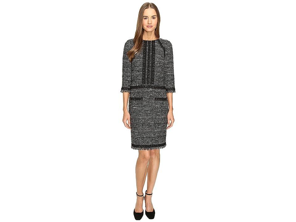 Alberta Ferretti Tweed 3/4 Sleeve Dress (Black) Women