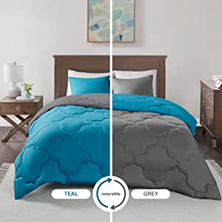 Comfort Spaces – Vixie Reversible Goose Down Alternative Comforter Mini Set - 2 Piece – Teal and Grey – Stitched Geometrical Pattern – Twin/Twin XL Size, Includes 1 Comforter, 1 Sham