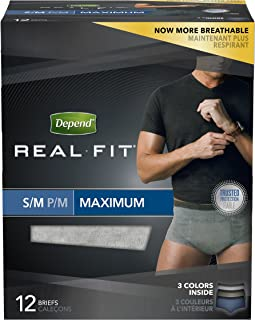 Depend Real Fit Incontinence Underwear for Men, Maximum Absorbency, S/M (Pack of 4)