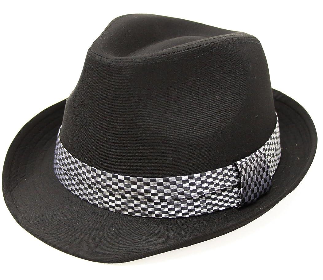 些細採用細分化する(エクサス)EXAS (大きめ62cm)ブラックボディーチェックリボン中折れハット(透明な帽子置き付き)