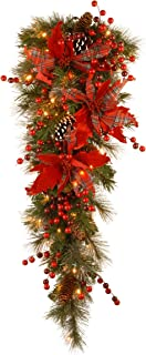 National Tree 36 Inch Decorative Collection Tartan Plaid Teardrop with Cones, Red Berries, Poinsettias and 50 Battery Operated Warm White LED Lights with Timer (DC13-147-36TB-1)