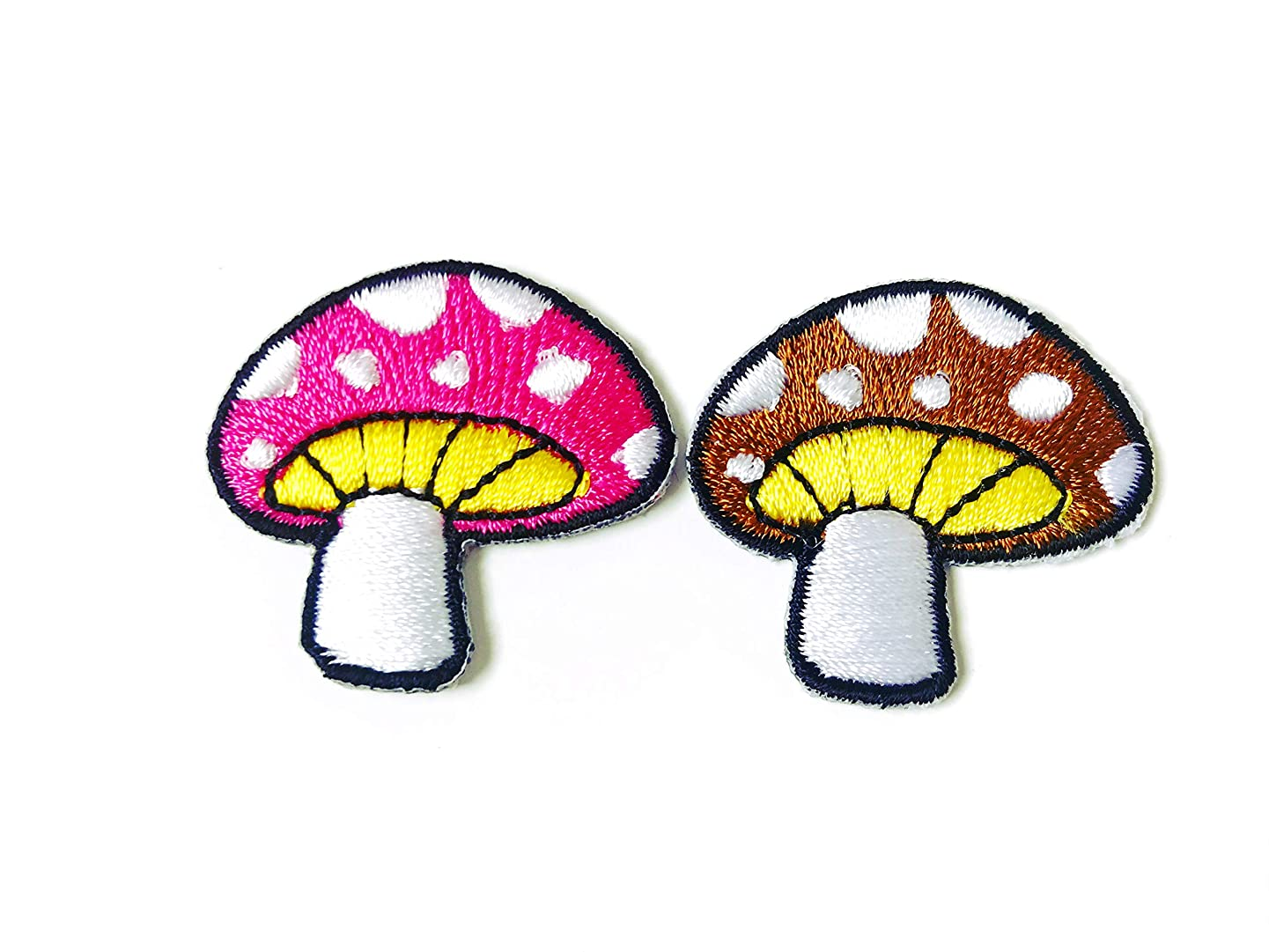 Set 2 pcs. Mushroom Magic Psylo Pink Brown with White Spots Jacket T-Shirt Sew Iron on Embroidered Applique Badge Sign Patch Clothing