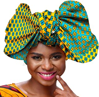 Shenbolen African Traditional Wax Print Head wrap Headwrap Scarf Tie,One Size