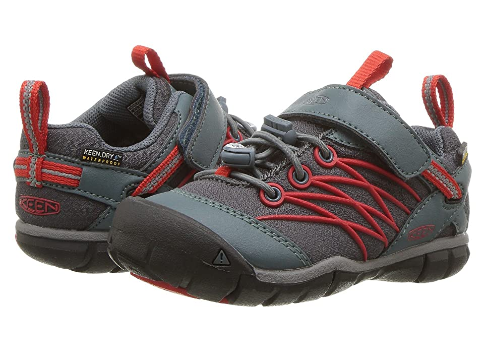 Keen Kids Chandler CNX WP (Toddler/Little Kid) (Stormy Weather/Fiery Red) Boys Shoes