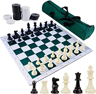 """Juegoal 20"""" Portable Chess & Checkers Set, 2 in 1 Travel Board Games for Kids and Adults, Folding Roll up Chess Game Sets,..."""