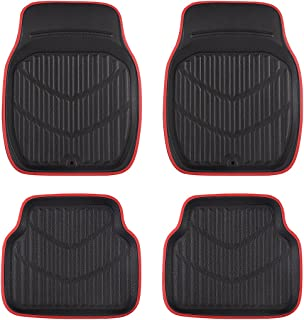 CAR PASS Universal Fit PVC Leather Car Floor Mats, Anti-Slip for Suvs,Vans,Trucks,Pack of 4 (Black and Red)