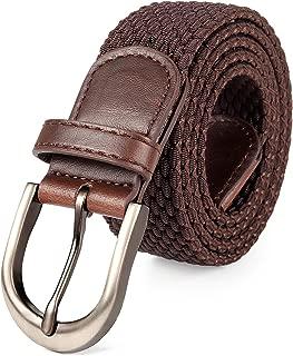 Braided Stretch Elastic Belt Pin Oval Satin Nickel Buckle Leather Loop End Tip Men/Women/Junior (7 Sizes 12 Colors )