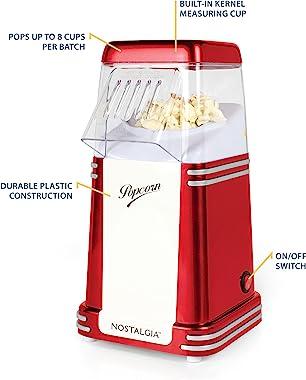 Nostalgia RHP310 8-Cup Healthy Retro Classic Hot Air Popcorn Maker, No Oil Needed, Retro Red