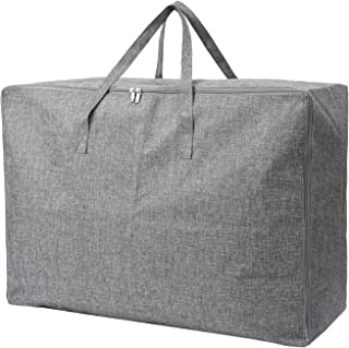 105L Extra Large Lead Free Organizer Storage Tote Bag - Sturdy, No Smell, Moisture Proof Linen Fabric, Carrying Bag, Camping Bag, Clothes Bag for Bedding, Comforters, Pillows, House Moving. (Grey)
