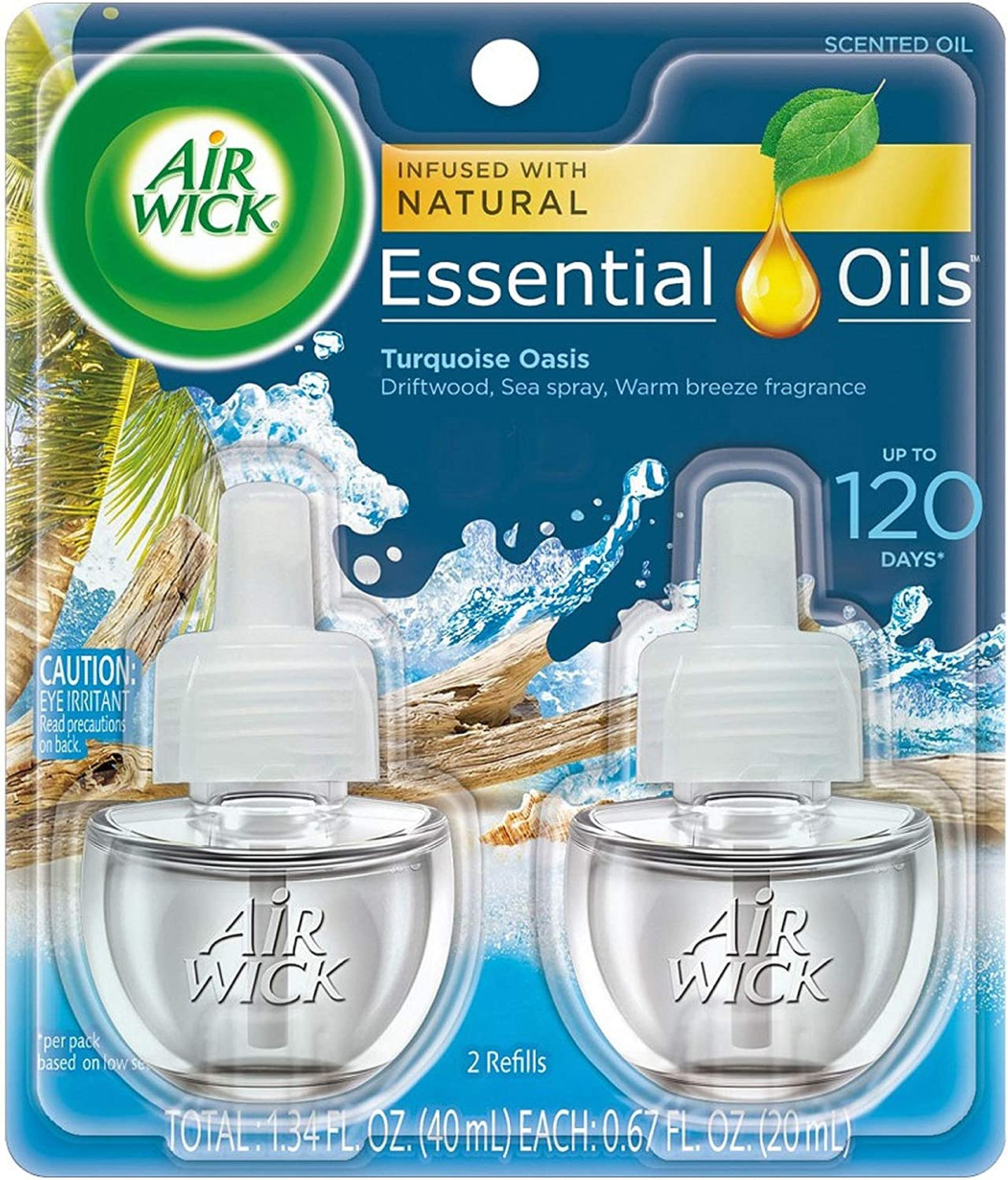 Air Wick Life Scents Scented Oil Plug in Air Freshener Refills, Turquoise Oasis 1.34 Fl Oz (Pack of 2)