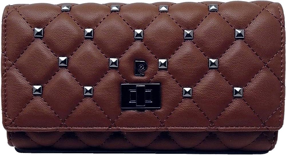 Pierre cardin porta carte di credito portafoglio da donna in ecopelle e piccole borchie in metallo marrone