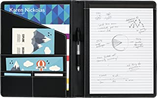 Executive PU Leather Portfolio, Designed for Professional Meetings and Interviews, Padfolio with Legal Pad and Business Card Slots