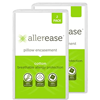 """AllerEase 100% Cotton Allergy Protection Pillow Protectors – Hypoallergenic, Zippered, Allergist Recommended, Prevent Collection of Dust Mites and Other Allergens, 20"""" x 26"""" (Set of 2), White"""