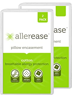 Aller-Ease 100% Cotton Allergy Protection Pillow Hypoallergenic, Allergist Recommended,..