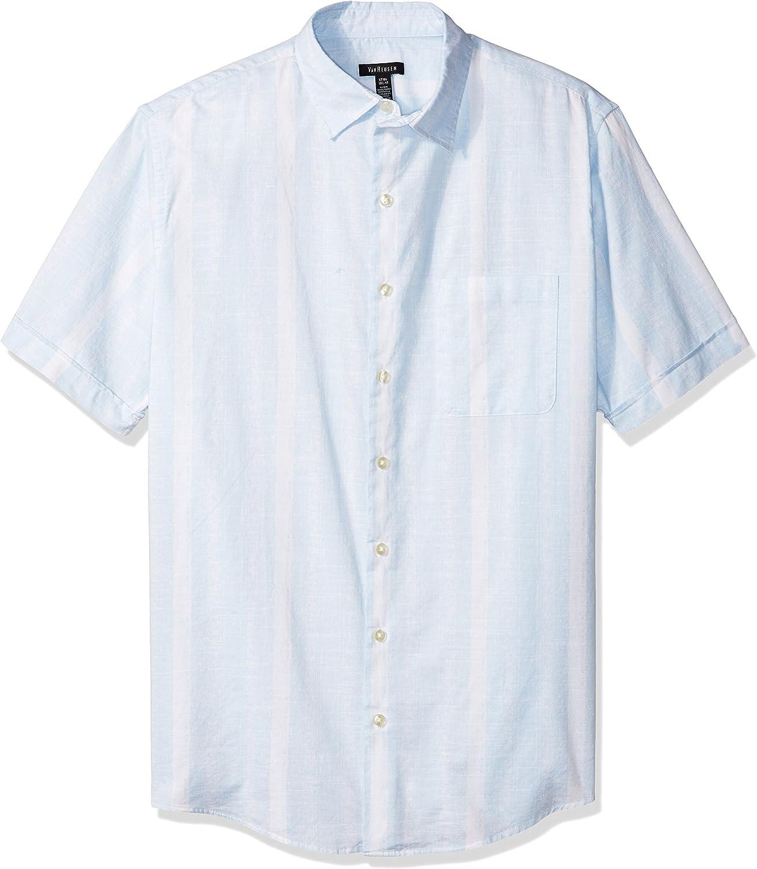 Van Heusen Men's Big and Tall White Washed Short Sleeve Button Down Solid Slub Shirt