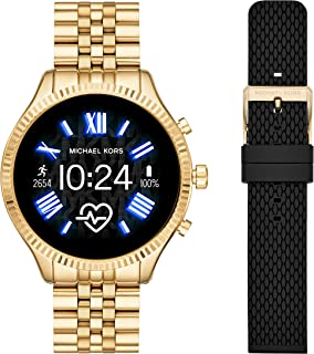 Michael Kors Access Lexington 2 Touchscreen Stainless Steel Smartwatch, Gold Tone-MKT5078 + Women's Lexington None Watch with Silicone Strap, Black, 20 (Model: MKT9092)