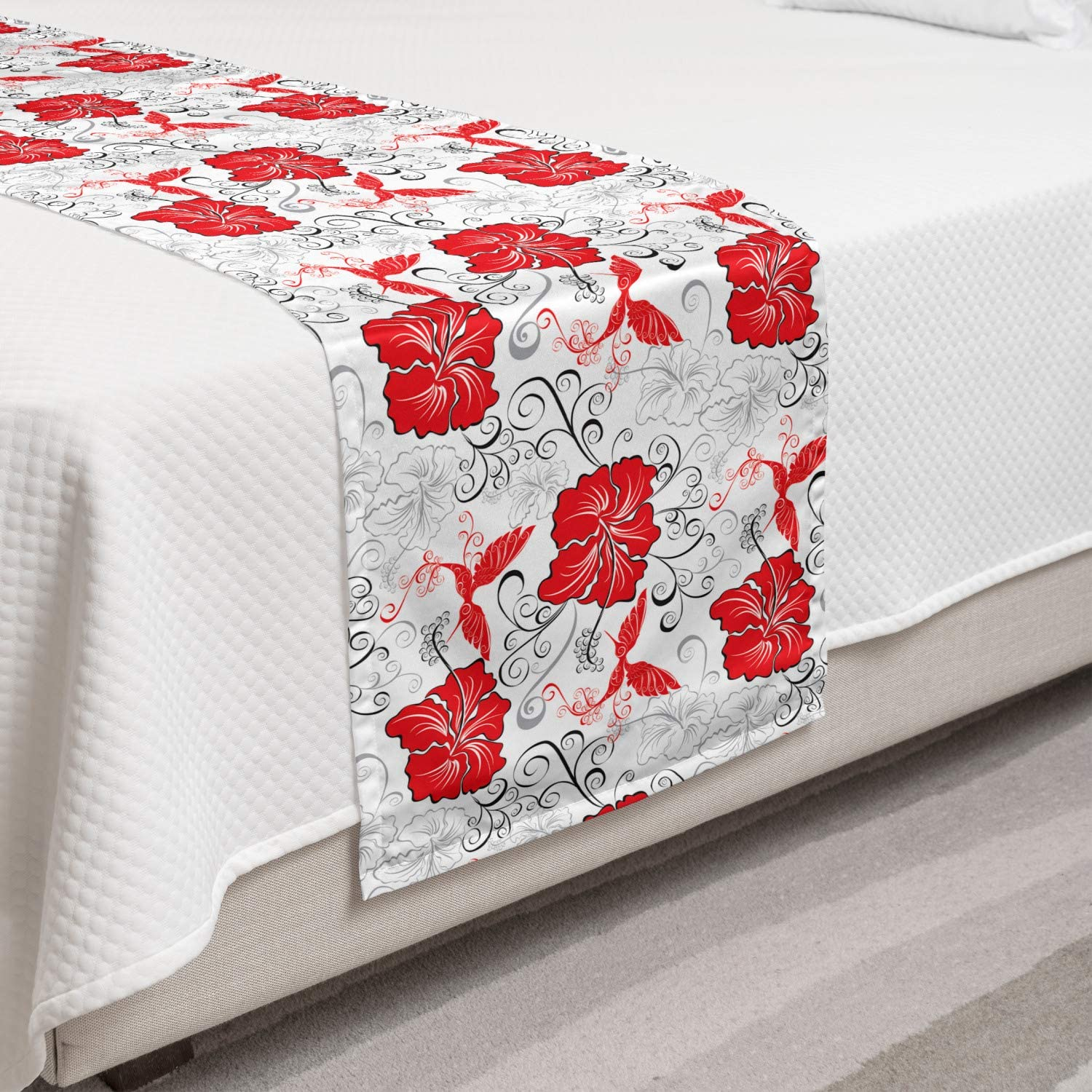 Lunarable Hawaiian Ranking Sale Special Price TOP14 Bed Runner Patterns Hibiscu with Flourishing
