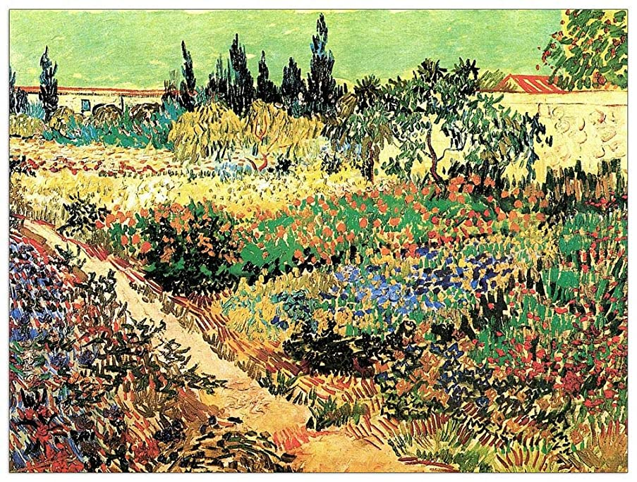 ArtPlaza TW90666 Van Gogh Vincent - Flowering Garden with Path Decorative Panel 35.5x27.5 Inch Multicolored