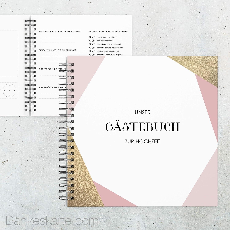 Dankeskarte  Gästebuch Hochzeit - Golden Coral - 60 Seiten - 21 x 21 cm - mit Fragen Ankreuzen - alle Seiten farbig Bedruckt - Hochzeitsgeschenk B07MV94VBR
