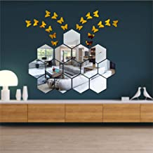 Best Decor 14 Hexagon Silver with 20 Butterfly Golden Code 221 Acrylic Mirror 3D Wall Sticker Decoration for Kids Room/Liv...