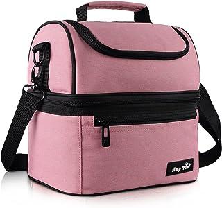 Hap Tim - Bolsa térmica para el almuerzo, tamaño grande, para adultos, hombres, mujeres, niños, doble cubierta para oficina, escuela, picnic rosa