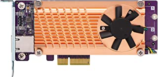 QNAP QM2-2P10G1TA Pci-E 扩展卡,带 2 个 PCIe 2280 M.2 SSD 插槽,PCIe Gen2 X 4,1 个 AQC107S 10GbE Nbase-T 端口QM22P10G1TA M.2 PCIe NVMe with 10GbE