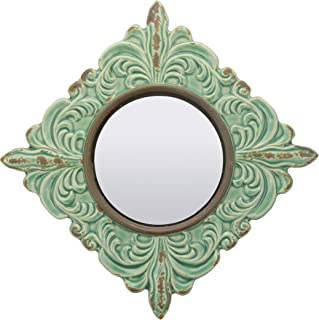 Stonebriar Decorative Antique Green Ceramic Wall Mirror, Vintage Home Décor for Living..