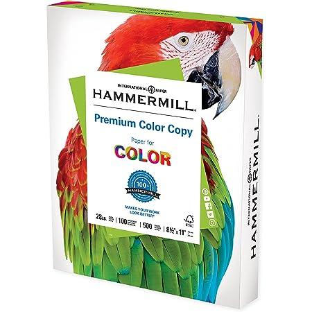 Hammermill Printer Paper, Premium Color 28 lb Copy Paper, 8.5 x 11 - 1 Ream (500 Sheets) - 100 Bright, Made in the USA, 102467