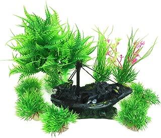 Pietypet Fish Tank Decorations Plants with Rockery View, 9pcs Green Aquarium Plants..